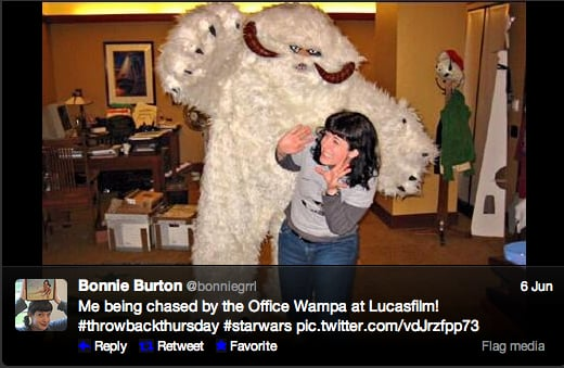 The Star Wars Craft Book author Bonnie Burton just barely escapes the wrath of Hoth's carnivorous ice creatures.