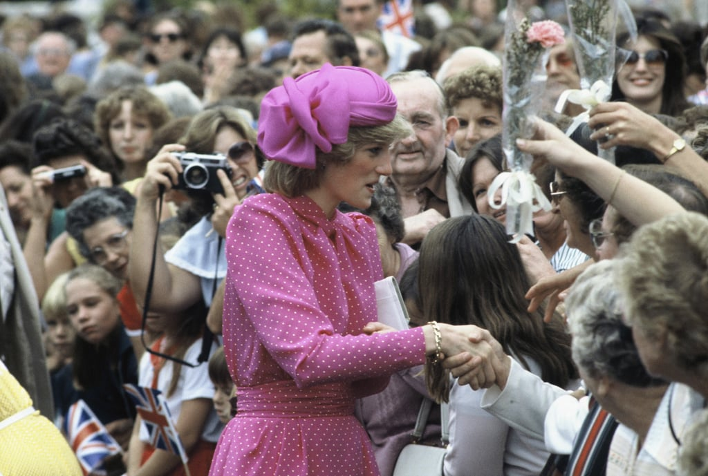 Diana wore a fuchsia John Boyd cocktail hat in Australia, 1983.