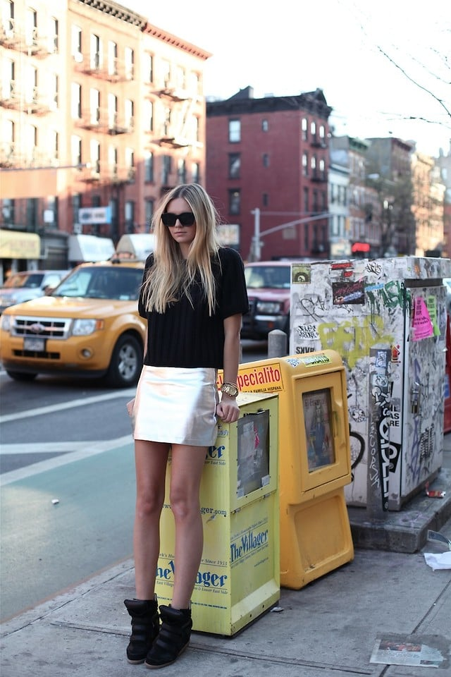Dress up your brunch look with two no-hassle accents: pumped-up kicks and a metallic skirt.  Photo courtesy of Lookbook.nu