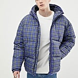 ASOS DESIGN puffer jacket in blue check