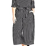 City Chic Stripe Play Jumpsuit