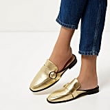 River Island Gold Backless Loafers ($100)