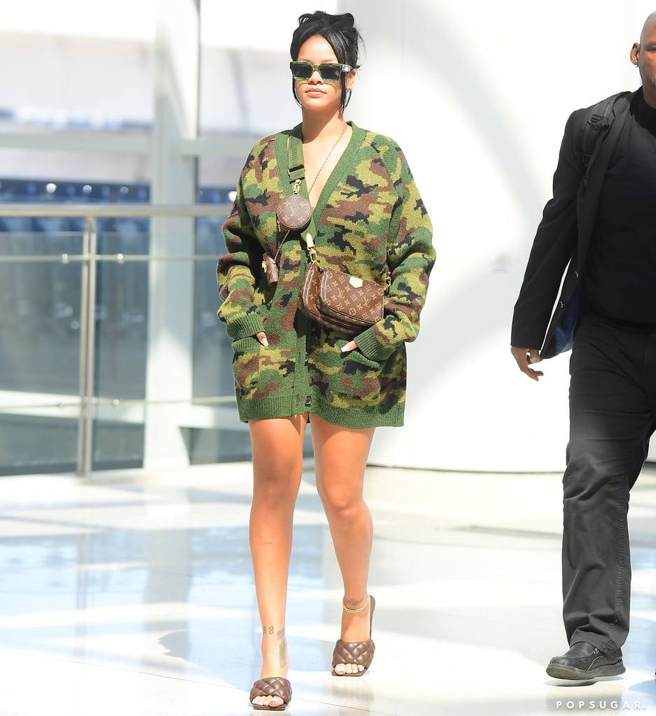 Rihanna Wears an Oversize Camo Cardigan as a Dress