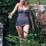 Blake Lively celebrated the Fourth of July in New York wearing a blue and white polka-dot swimsuit.