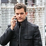 Joshua Jackson waited to film on the set of Fringe.