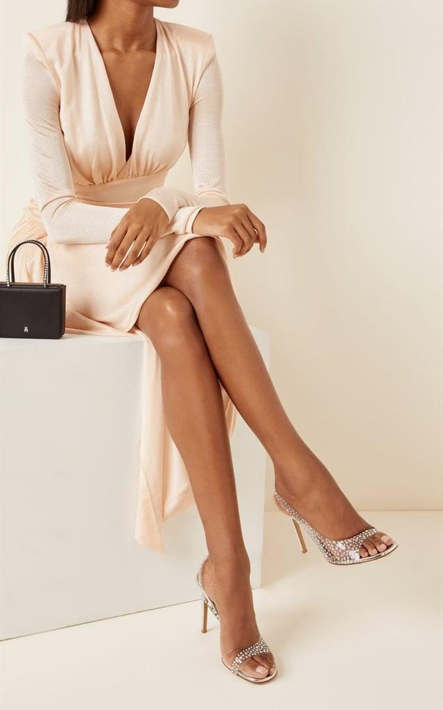 A Sexy Peep Toe: Alexandre Vauthier Clara Crystal-Embellished PVC Slingback Sandals