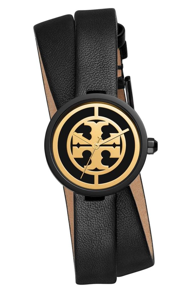 Tory Burch Reva Double Wrap Leather Strap Watch