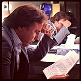 Kevin Nealon reviewed his notes before his appearance on Conan. Source: Instagram user teamcoco