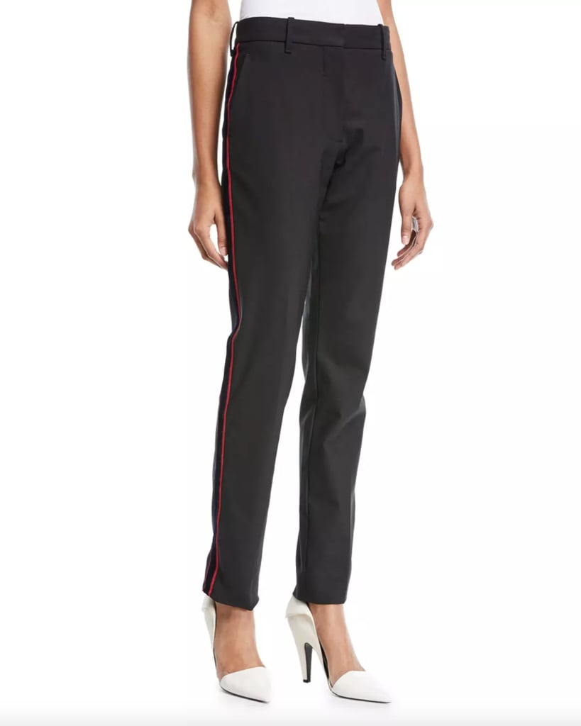 Calvin Klein Straight-Leg Wool Pants with Side Stripe