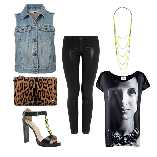 Hitting the town on Saturday night? Add some edge to your denim vest with a pair of coated jeans, a slouchy, screenprinted photo tee, and fierce neon accessories. Get the look:  Topshop Sleeveless Denim Jacket ($76) J Brand 901 Waxed Denim Jeans ($195) Forever 21 Layered Neon Box Chain Necklace ($11) Mango Printed Photo T-Shirt ($30) Opening Ceremony Jungle 2 Heeled Sandals ($582) Jerome Dreyfuss Leopard Popoche Clutch ($425)