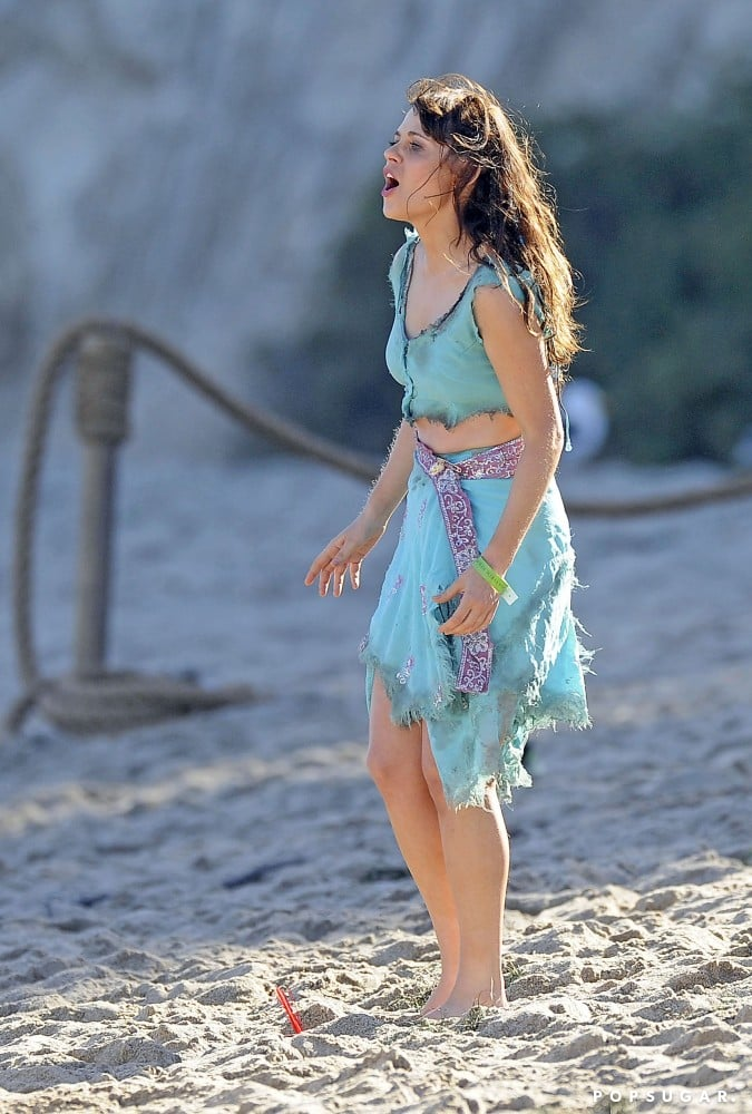 Zooey Deschanel got dramatic for New Girl on an LA beach on Tuesday.