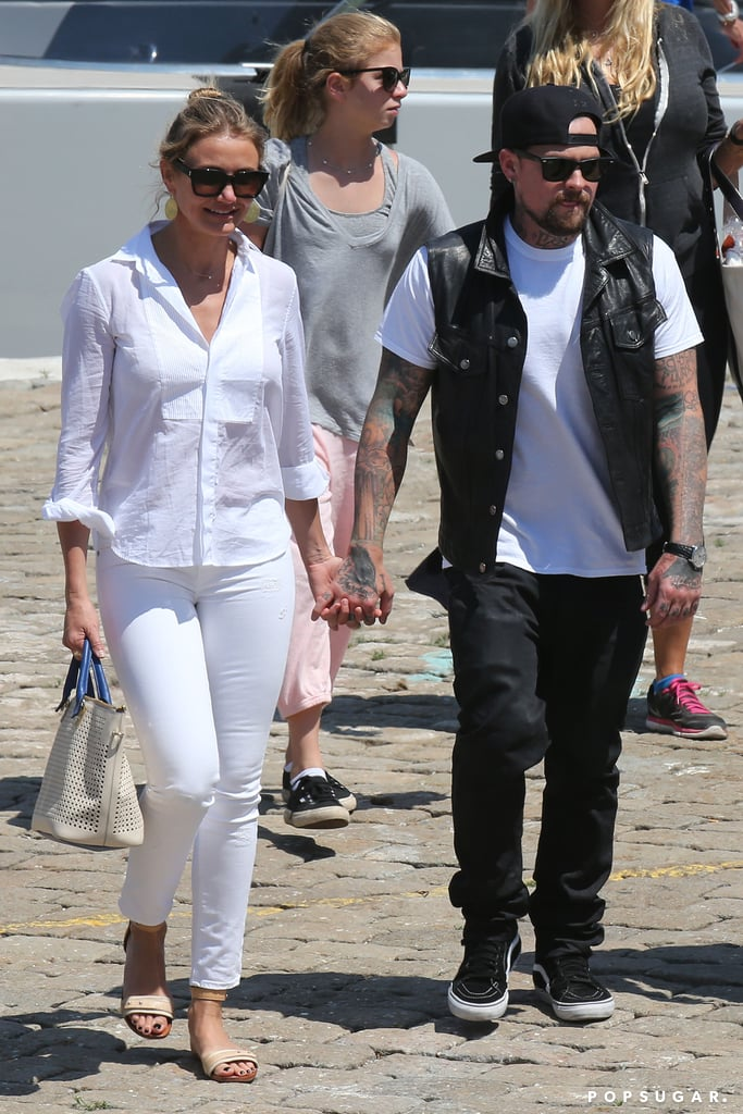 Cameron Diaz and Benji Madden held hands as they headed to the airport in Beaulieu-sur-Mer, France, on Saturday.