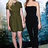 Angelina Jolie and Elle Fanning at Maleficent Photocall
