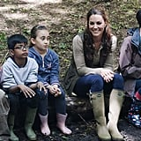 Kate Middleton looked to be enjoying her visit with children from Expanding Horizons' primary school outdoor camp.