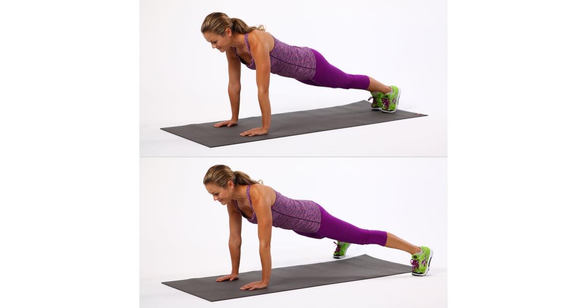 Plank jacks plank variation exercises popsugar fitness for Plank jacks