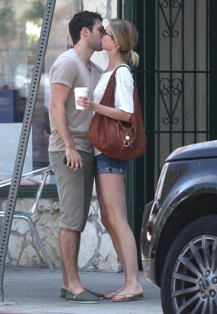 Emily VanCamp and Joshua Bowman shared a passionate kiss after having brunch together in LA.