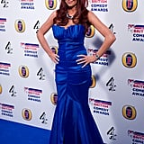 Amy Childs wore a long blue strapless dress.