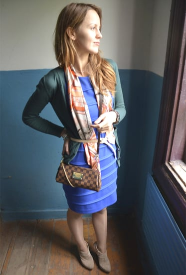 Layered dress with warm cardi and belted scarf