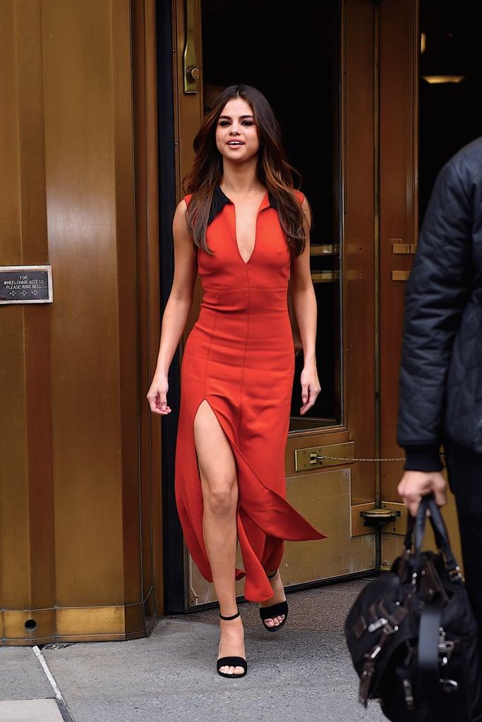 Selena Gomez Orange Maxi Dress June 2017