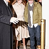 Jennifer Lopez held hands with Casper Smart while walking to the Late Show.