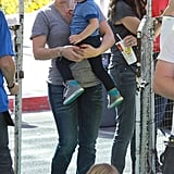 Hilary Duff carried Luca around an LA farmers market on Sunday.