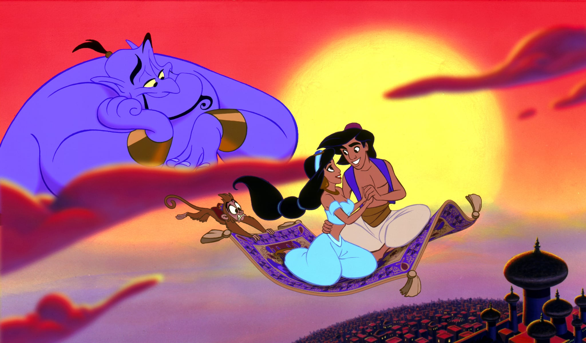 ALADDIN, Genie, Jasmine, Aladdin, 1992. (c) Buena Vista Pictures/ Courtesy: Everett Collection.