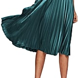 Floerns Metallic Pleated Satin Midi Skirt