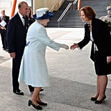 Julia Gillard welcomed Queen Elizabeth II and Prince Philip in Perth for the Commonwealth Heads of Governement Meeting in Oct. 2011.