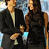Nina Dobrev looked fondly at Ian Somerhalder when they appeared on stage together at Spike TV's Scream Awards in October 2009.