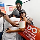 Friends embraced in LA after the historic high court rulings for gay marriage and equality.