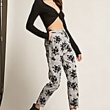 Forever 21 Velvet Floral Glen Plaid Pants