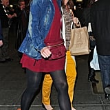 Katie Holmes had a smile on her face leaving her Broadway show.