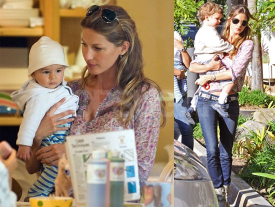 Pictures of Gisele Bundchen Exercising in LA And Shopping With Benjamin Brady And Jack Moynahan