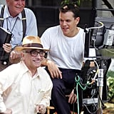 Matt Damon sat with legendary director Martin Scorsese on the set of The Departed in NYC August 2005.
