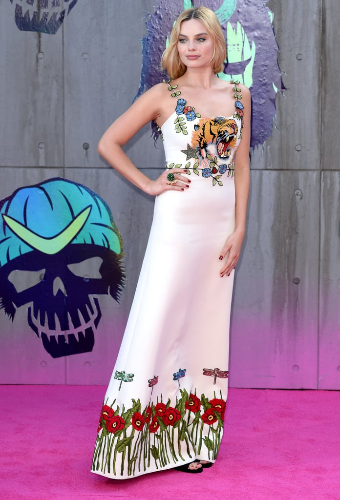 Margot chose a crystal embellished Gucci column gown to wear at the European premiere of Suicide Squad.