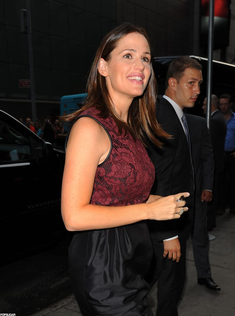Jennifer Garner walked into her appearance at Good Morning America.