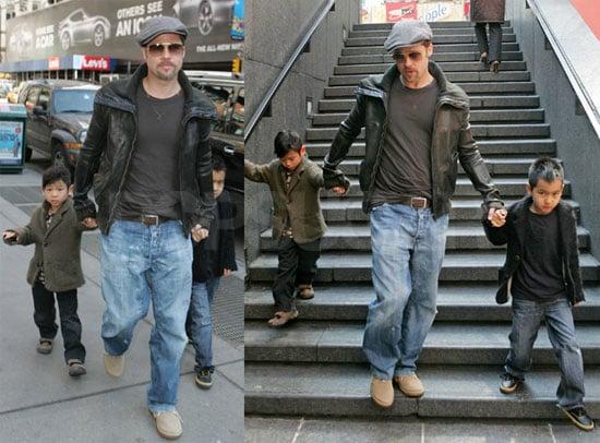 Photos of Brad Pitt, Maddox Jolie-Pitt, Pax Jolie-Pitt, Angelina Jolie in NYC