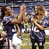 Ciara got a high five from a football player while she was working at the Super Bowl in 2012.