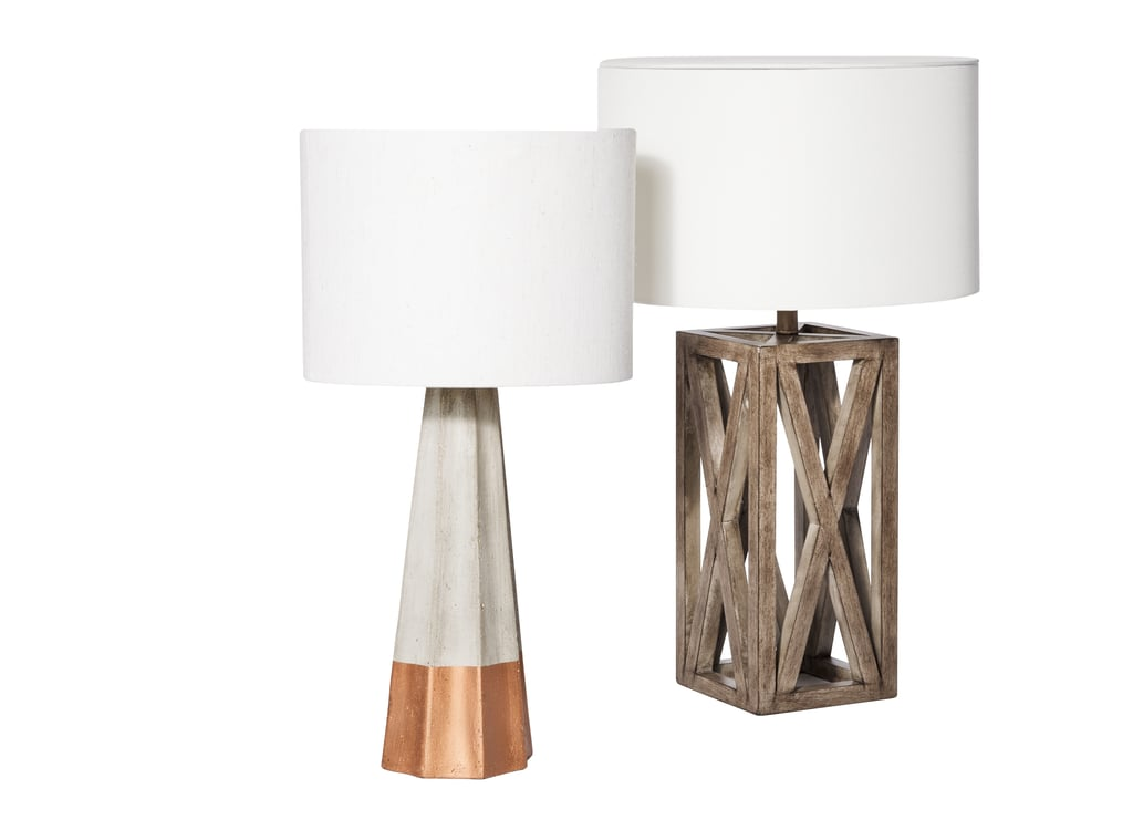 Rose Gold Dipped Cement Table Lamp 70 And Wood Box Lamp