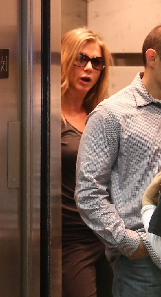Jennifer Aniston talked to other people in the elevator.