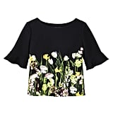 Black Satin Photo Floral Top with Ruffle Sleeve ($28)