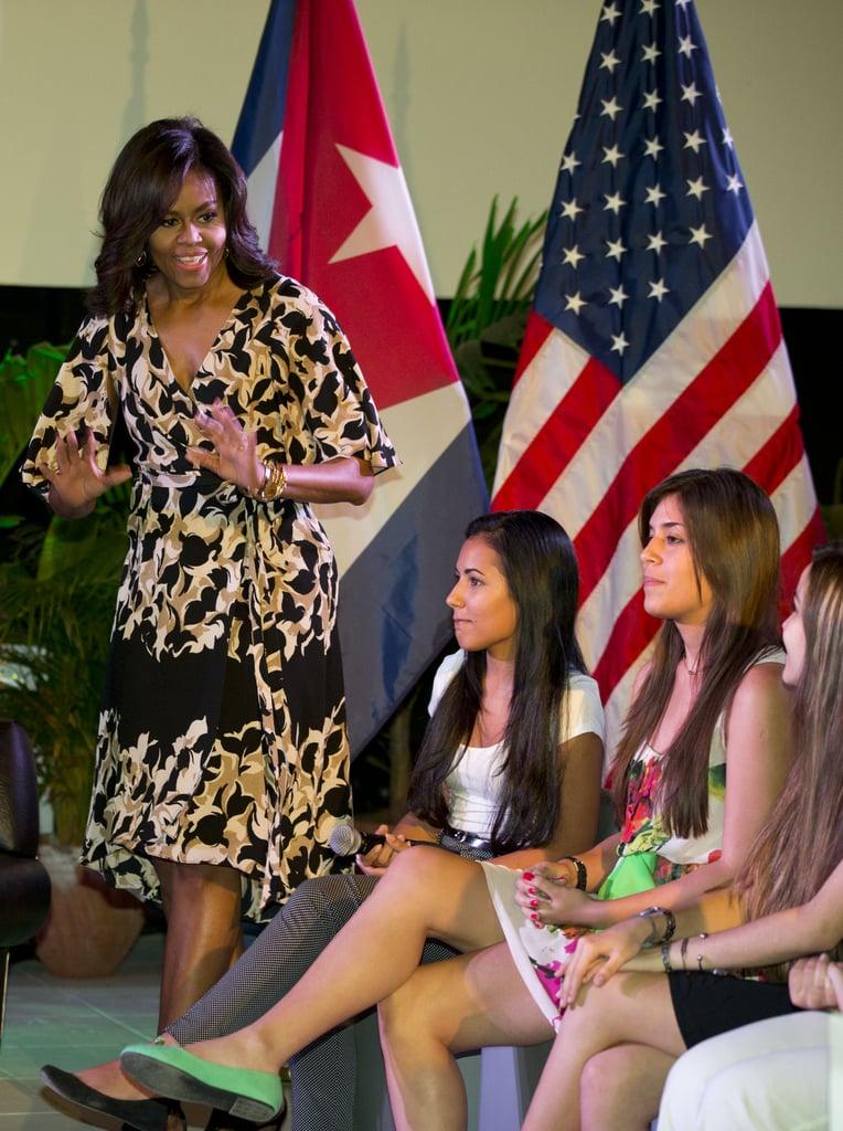 When Michelle Spoke About Her New Initiative, Let Girls Learn, in a Kimono Dress