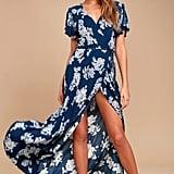 Heart of Marigold Navy Blue Floral Print Wrap Maxi Dress