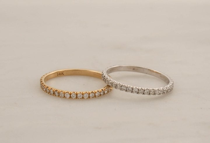Etsy Handmade Skinny Eternity Diamond Stacking Ring in 14K Gold
