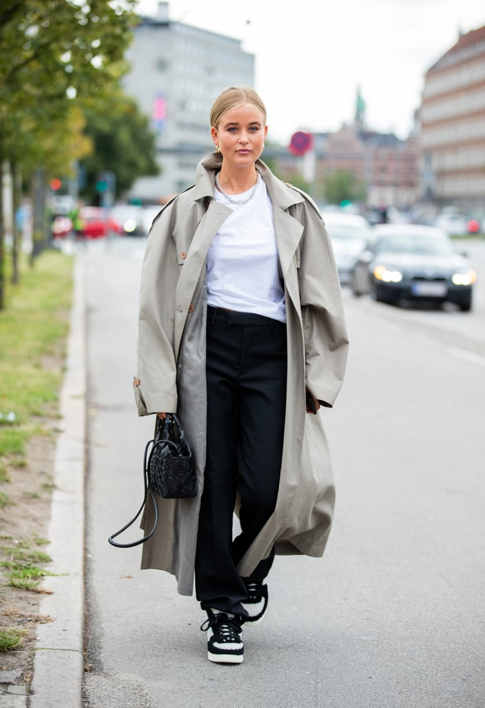 Fall Outfit Idea: Trench Coat + Trousers + Sneakers | Fall ...