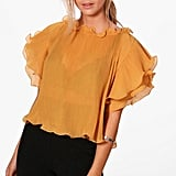 Boohoo Joslyn Crinkle Off-the-Shoulder Frill Sleeve Top