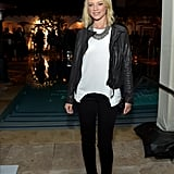 Amy Smart wore a leather jacket with a white tee to the Condé Nast Traveler Hot List Party in LA.