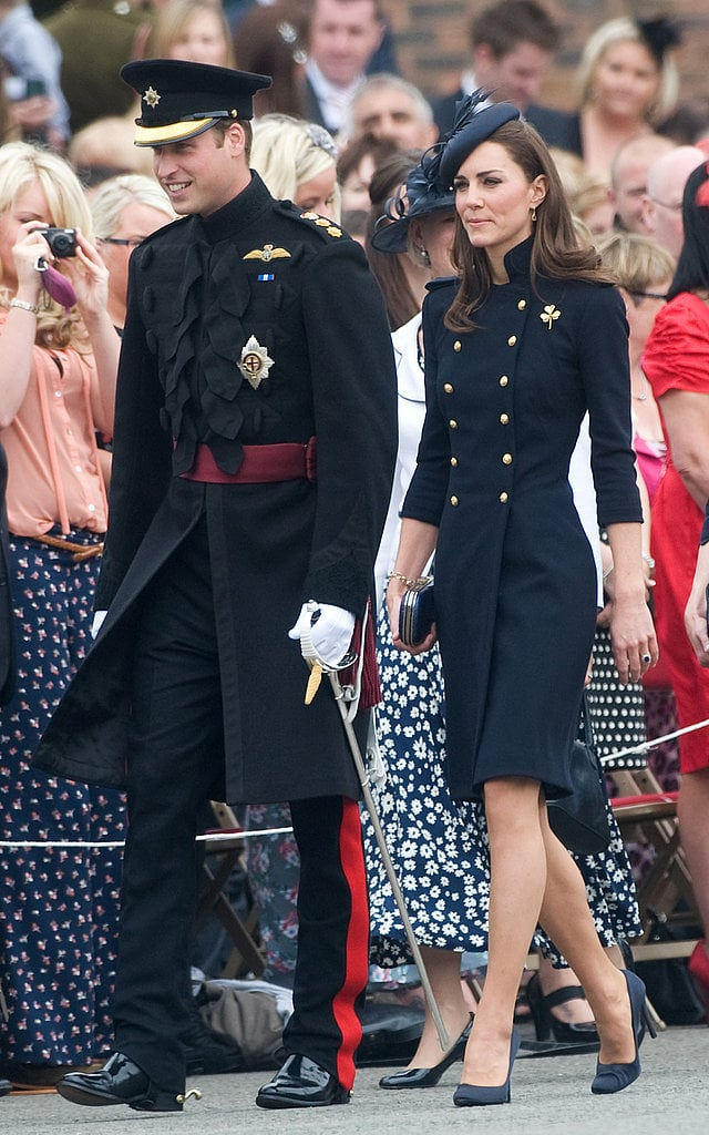 Kate wore Alexander McQueen to join Prince William at the Irish Guards Medal Parade in June 2011.