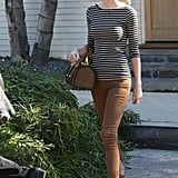 Taylor Swift wore a striped tee.