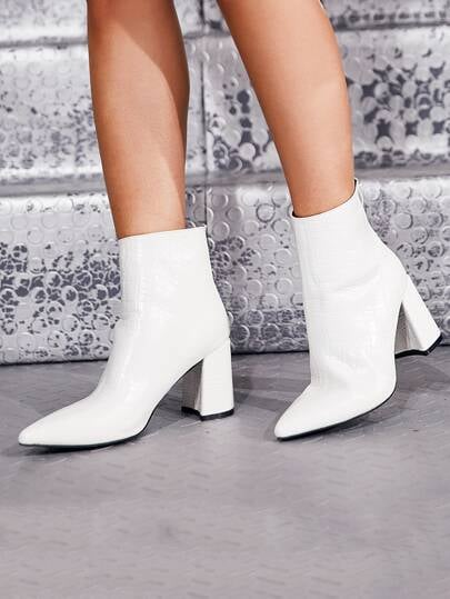 Shein Point Toe Croc Embossed Zip Back Boots